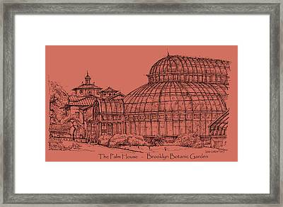 The Palm House In A Salmon Pink  Framed Print by Building  Art
