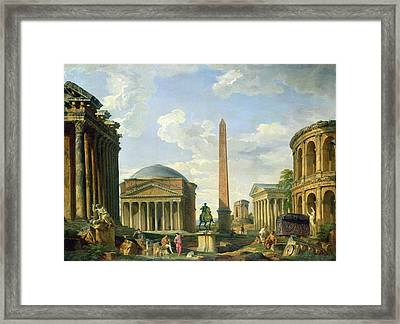 The Pantheon And Other Monuments 1735 Framed Print by Giovani Paolo Panini