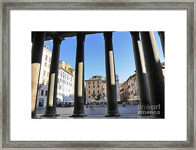 The Pantheon . Piazza Della Rotonda. Rome Framed Print by Bernard Jaubert