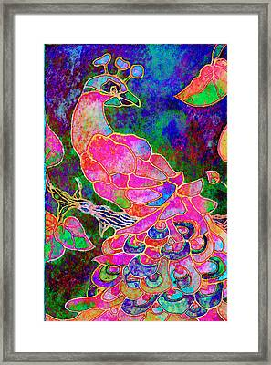 The Peacock Framed Print by Robin Mead