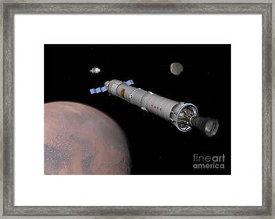 The Phobos Mission Rocket Prepares Framed Print by Walter Myers