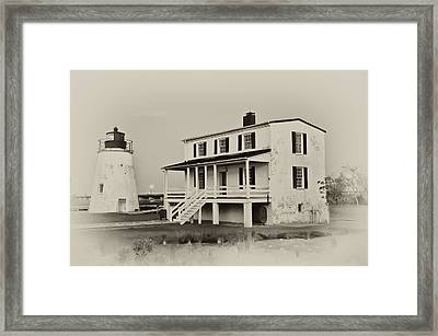 The Piney Point Lighthouse In Sepia Framed Print by Bill Cannon