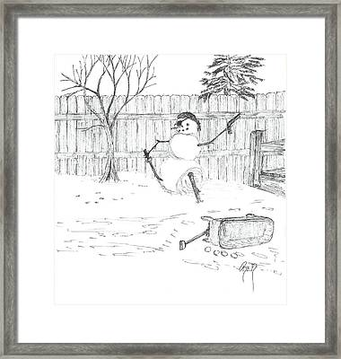 The Pirate In My Backyard - Sketch Framed Print by Robert Meszaros