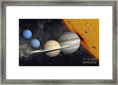 The Planets And Larger Moons To Scale Framed Print by Ron Miller