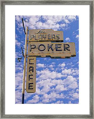 The Players Poker Cafe Framed Print by Ron Regalado
