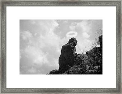 The Praying Monk With Halo - Camelback Mountain Bw Framed Print by James BO  Insogna