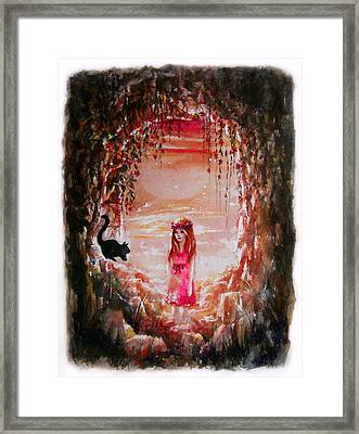 The Princess And The Cat Framed Print by Rachel Christine Nowicki