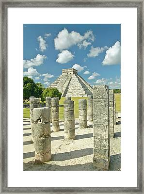 The Pyramid Of Kukulkan, (also Known As El Castillo), A Mayan Ruin, As Seen From The Thousand Columns (foreground), Chichen Itza, Mexico Framed Print by VisionsofAmerica/Joe Sohm