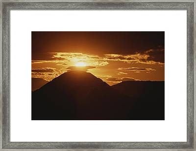 The Pyramid Of The Sun Silhouetted Framed Print by Kenneth Garrett
