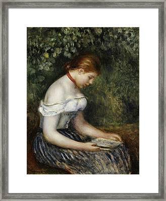 The Reader A Seated Young Girl  Framed Print by Pierre Auguste Renoir