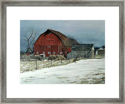 The Red Barn Framed Print by Robert Hinves