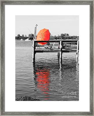 The Red Umbrella Framed Print by Lynda Dawson-Youngclaus