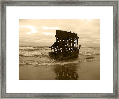 The Remains Of A Ship Framed Print by Kym Backland