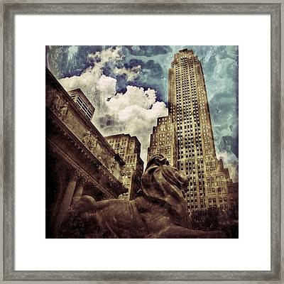 The Resting Lion - Nyc Framed Print by Joel Lopez