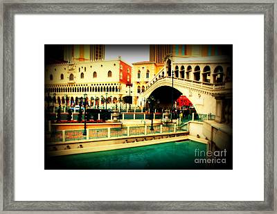 The Rialto Bridge Of Venice In Las Vegas Framed Print by Susanne Van Hulst