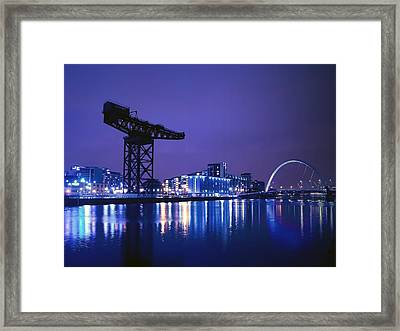 The River Clyde At Night. Framed Print by Amanda Finan