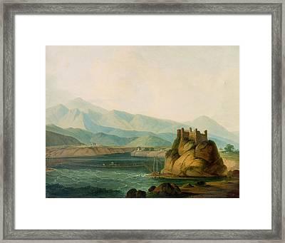 The Rope Bridge At Serinagur Framed Print by Thomas Daniell