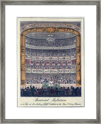 The Royal Coburg Theatre And Audience Framed Print by Everett