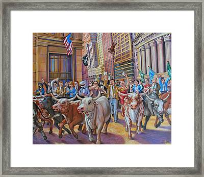 The Running Of The Bulls Framed Print by Henry David Potwin