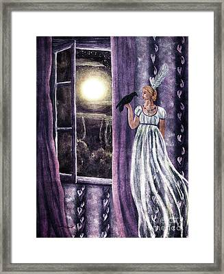 The Rustling Purple Curtains Framed Print by Laura Iverson