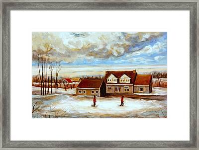 The Schoolhouse Winter Morning Quebec Rural Landscape Framed Print by Carole Spandau