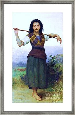 The Shepherdess Framed Print by Pg Reproductions