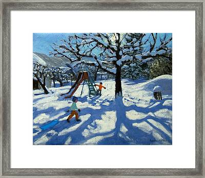 The Slide In Winter Framed Print by Andrew Macara