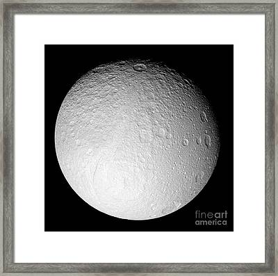 The South Pole Of Saturns Moon Tethys Framed Print by Stocktrek Images