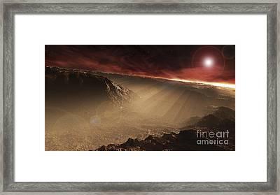 The Sun Rises Over Gale Crater, Mars Framed Print by Steven Hobbs
