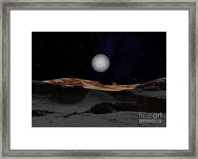 The Surface Of Pluto With Charon Framed Print by Ron Miller