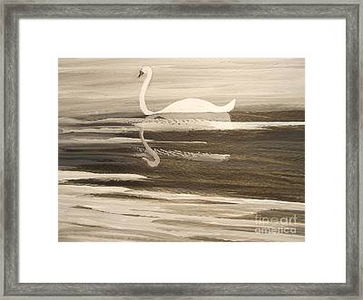 The Swans Song....melody Of Motherhood Framed Print by Barbara McNeil