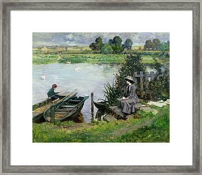 The Thames At Benson Framed Print by Albert Chevallier Tayler