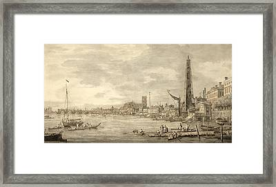 The Thames Looking Towards Westminster From Near York Water Gate  Framed Print by Giovanni Antonio Canaletto