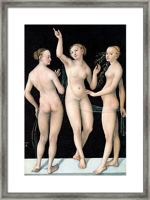 The Three Graces Framed Print by Lucas Cranach the Elder