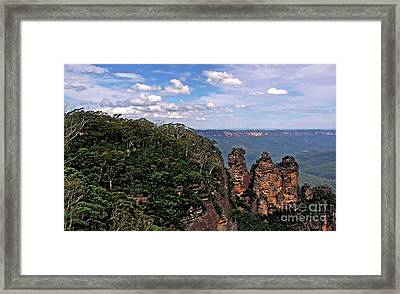 The Three Sisters - The Blue Mountains Framed Print by Kaye Menner