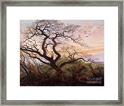 The Tree Of Crows Framed Print by Caspar David Friedrich