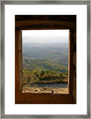 The Tuscan Plain From Ruined Monastery In Volterra Framed Print by Mathew Lodge