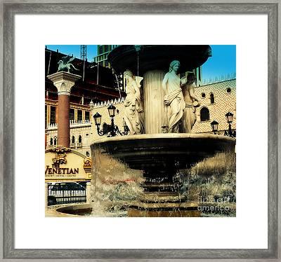 The Venetian Fountain In Las Vegas Framed Print by Susanne Van Hulst