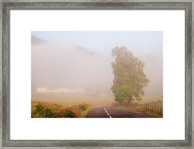The Way To Never Never Land. Misty Roads Of Scotland Framed Print by Jenny Rainbow