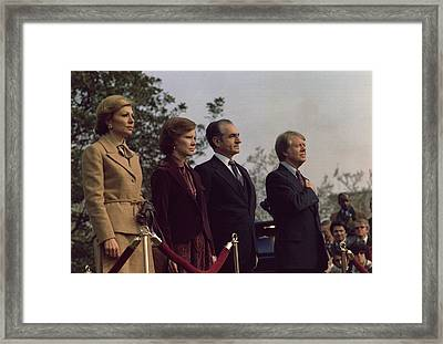The Welcoming Ceremony For The Shah Framed Print by Everett