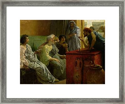 The Wine Shop Framed Print by Sir Lawrence Alma-Tadema