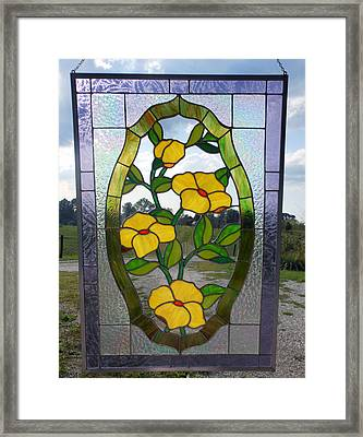 The Yellow Roses Stained Glass Panel Framed Print by Arlene  Wright-Correll