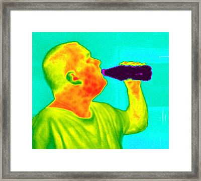Thermogram Of A Man Drinking From A Bottle Framed Print by Dr. Arthur Tucker