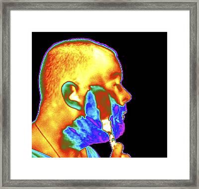 Thermogram Of A Man Shaving Framed Print by Dr. Arthur Tucker