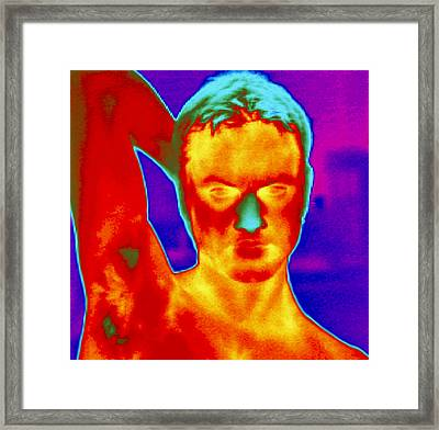Thermogram Of A Man's Head And Shoulders Framed Print by Dr. Arthur Tucker