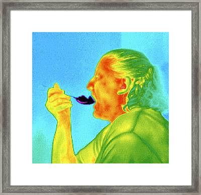 Thermogram Of A Woman Eating Ice Cream Framed Print by Dr. Arthur Tucker