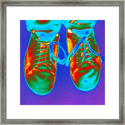 Thermogram Of Feet Wearing Trainers Framed Print by Dr. Arthur Tucker