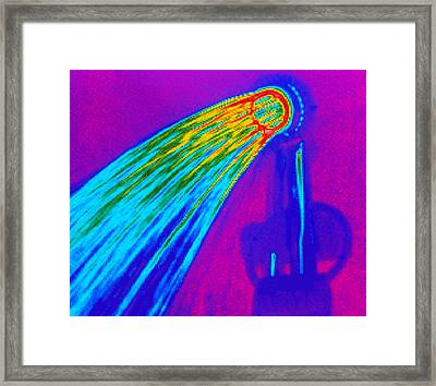 Thermogram Of Water Pouring From A Shower Head Framed Print by Dr. Arthur Tucker