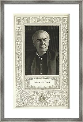 Thomas Edison, American Inventor Framed Print by Science, Industry & Business Librarynew York Public Library