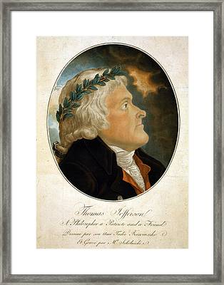 Thomas Jefferson, Color Aquatint Afte Framed Print by Everett